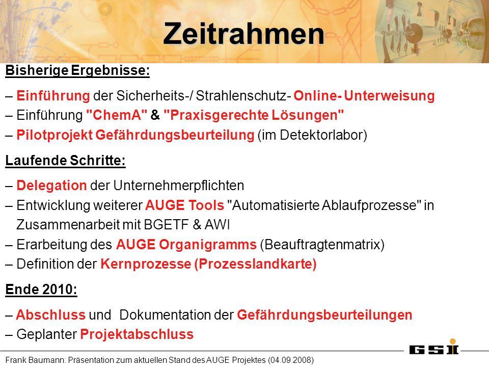 Frank Baumann: Präsentation zum aktuellen Stand des AUGE Projektes (04.09.2008) Zeitrahmen Bisherige Ergebnisse: – Einführung der Sicherheits-/ Strahl