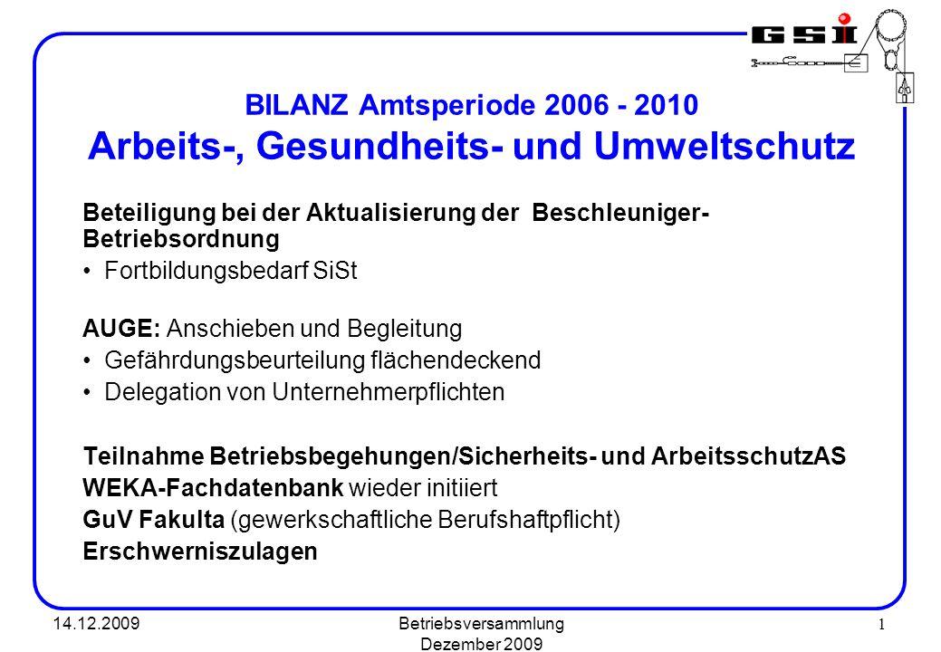 14.12.2009Betriebsversammlung Dezember 2009 1 BILANZ Amtsperiode 2006 - 2010 Arbeits-, Gesundheits- und Umweltschutz Beteiligung bei der Aktualisierun
