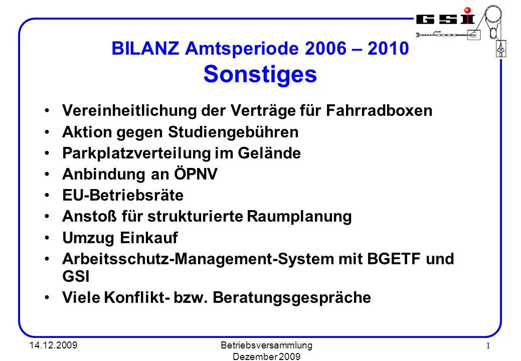 14.12.2009Betriebsversammlung Dezember 2009 1 BILANZ Amtsperiode 2006 – 2010 Sonstiges Vereinheitlichung der Verträge für Fahrradboxen Aktion gegen St