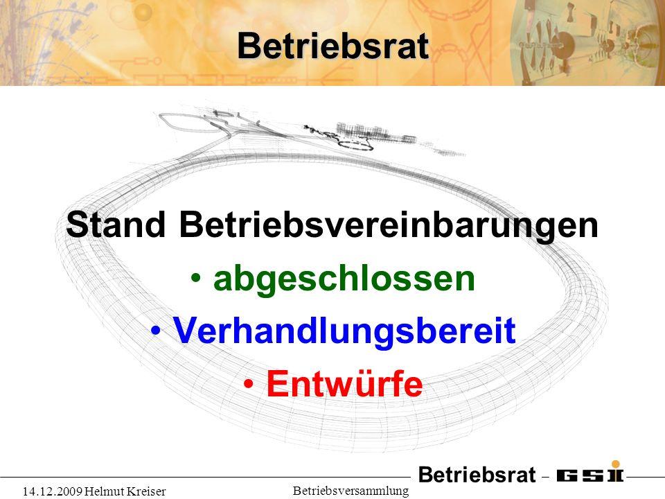 Betriebsrat 14.12.2009 Helmut Kreiser Betriebsversammlung Betriebsrat Stand Betriebsvereinbarungen abgeschlossen Verhandlungsbereit Entwürfe