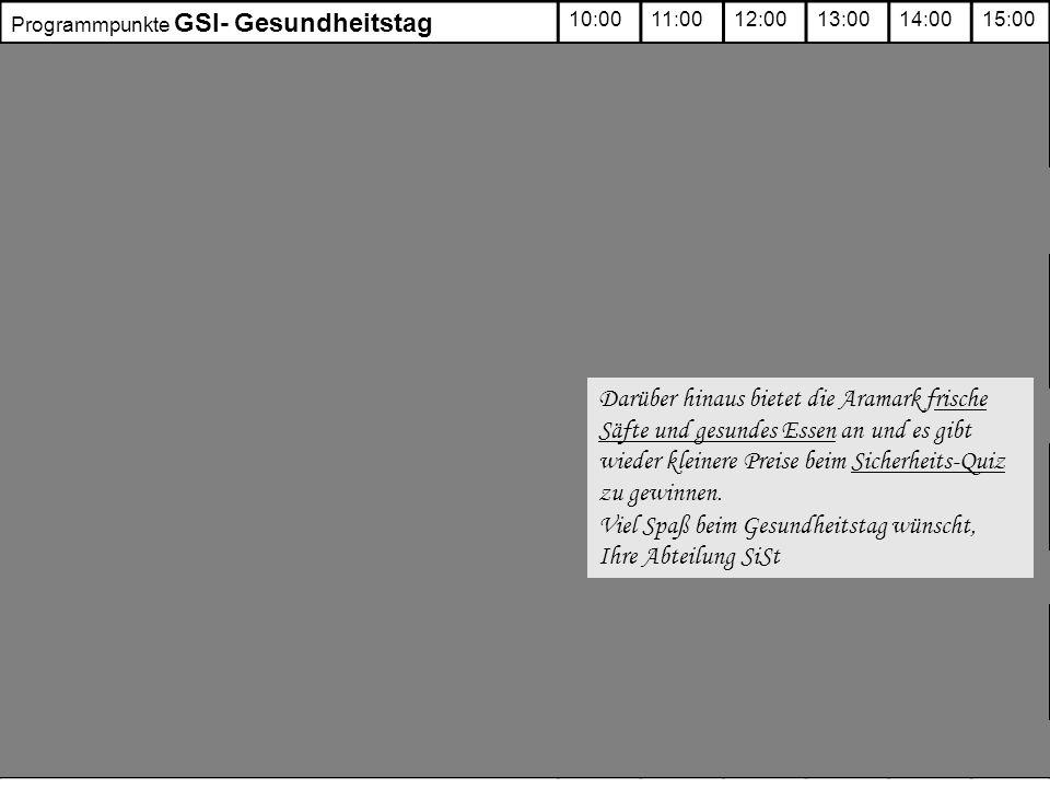 Programmpunkte GSI- Gesundheitstag 10:0011:0012:0013:0014:0015:00 Feuerlöschübungen: Vortrag [Seitenraum Hörsaal] Löschübungen [ Außengelände] Schnupperkurse (jeweils ca.