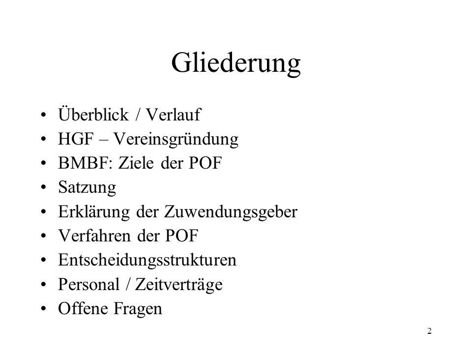 2 Gliederung Überblick / Verlauf HGF – Vereinsgründung BMBF: Ziele der POF Satzung Erklärung der Zuwendungsgeber Verfahren der POF Entscheidungsstrukt