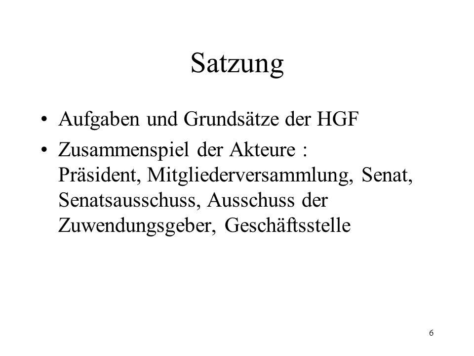 6 Satzung Aufgaben und Grundsätze der HGF Zusammenspiel der Akteure : Präsident, Mitgliederversammlung, Senat, Senatsausschuss, Ausschuss der Zuwendun
