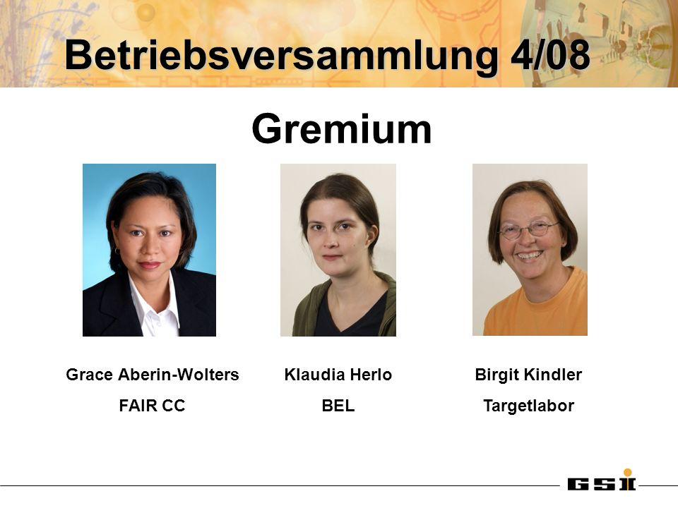 Betriebsversammlung 4/08 Grace Aberin-Wolters FAIR CC Klaudia Herlo BEL Birgit Kindler Targetlabor Gremium
