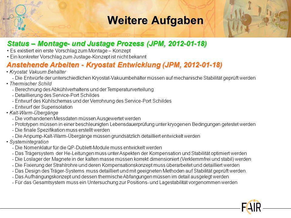 Weitere Aufgaben Status – Montage- und Justage Prozess (JPM, 2012-01-18) Es existiert ein erste Vorschlag zum Montage – Konzept Ein konkreter Vorschla