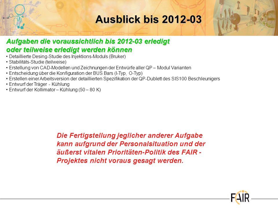 Ausblick bis 2012-03 Aufgaben die voraussichtlich bis 2012-03 erledigt oder teilweise erledigt werden können Detaillierte Desing-Studie des Injektions