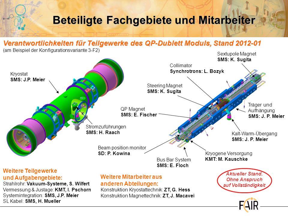 Beteiligte Fachgebiete und Mitarbeiter Sextupole Magnet SMS: K. Sugita QP Magnet SMS: E. Fischer Collimator Synchrotrons: L. Bozyk Steering Magnet SMS