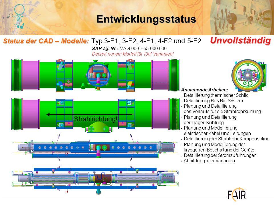 Entwicklungsstatus Status der CAD – Modelle: Unvollständig Status der CAD – Modelle:Typ 3-F1, 3-F2, 4-F1, 4-F2 und 5-F2 Unvollständig Anstehende Arbei