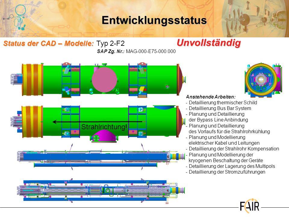 Entwicklungsstatus Status der CAD – Modelle: Unvollständig Status der CAD – Modelle:Typ 2-F2 Unvollständig Anstehende Arbeiten: -Detaillierung thermis