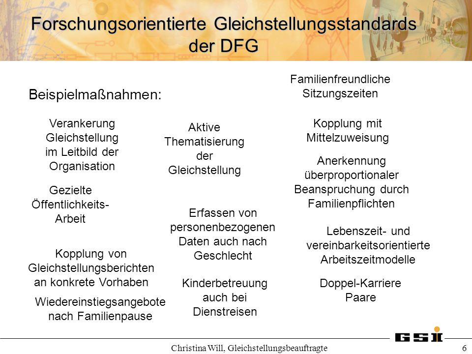Forschungsorientierte Gleichstellungsstandards der DFG Christina Will, Gleichstellungsbeauftragte 6 Beispielmaßnahmen: Verankerung Gleichstellung im L