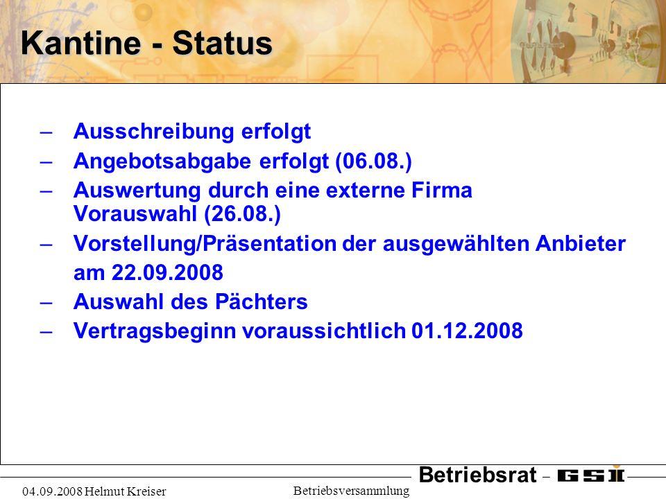 Betriebsrat 04.09.2008 Helmut Kreiser Betriebsversammlung Kantine - Status –Ausschreibung erfolgt –Angebotsabgabe erfolgt (06.08.) –Auswertung durch e
