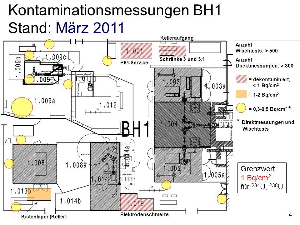 4 Elektrodenschmelze Schränke 3 und 3.1 PIG-Service = dekontaminiert, < 1 Bq/cm 2 = 0,3-0,5 Bq/cm² * * Direktmessungen und __Wischtests Kelleraufgang