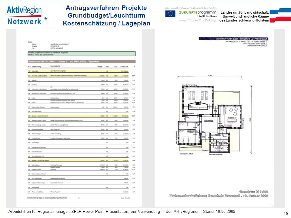 Landesamt für Landwirtschaft, Umwelt und ländliche Räume des Landes Schleswig-Holstein 10 Arbeitshilfen für Regionalmanager: ZPLR-Power-Point-Präsenta