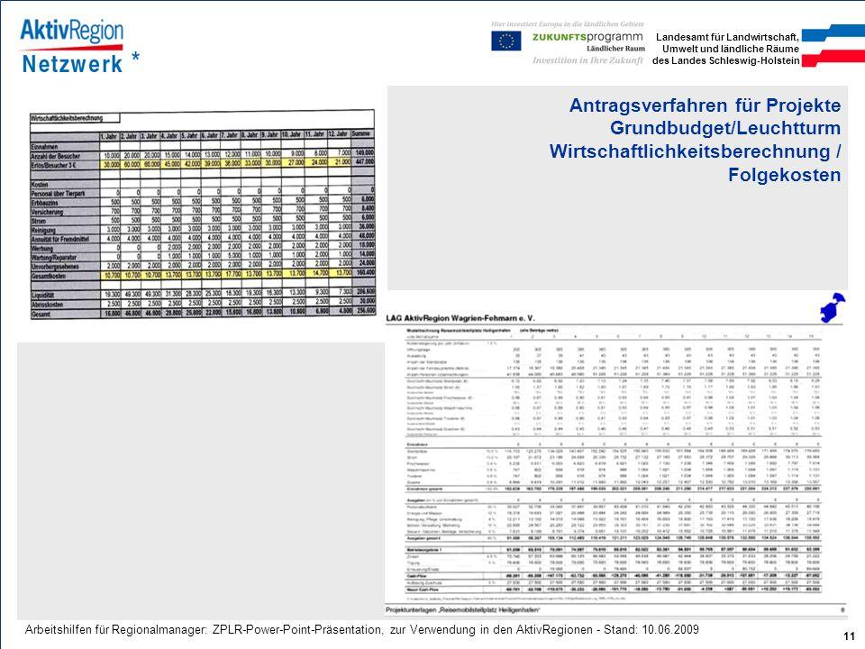 Landesamt für Landwirtschaft, Umwelt und ländliche Räume des Landes Schleswig-Holstein 11 Arbeitshilfen für Regionalmanager: ZPLR-Power-Point-Präsenta