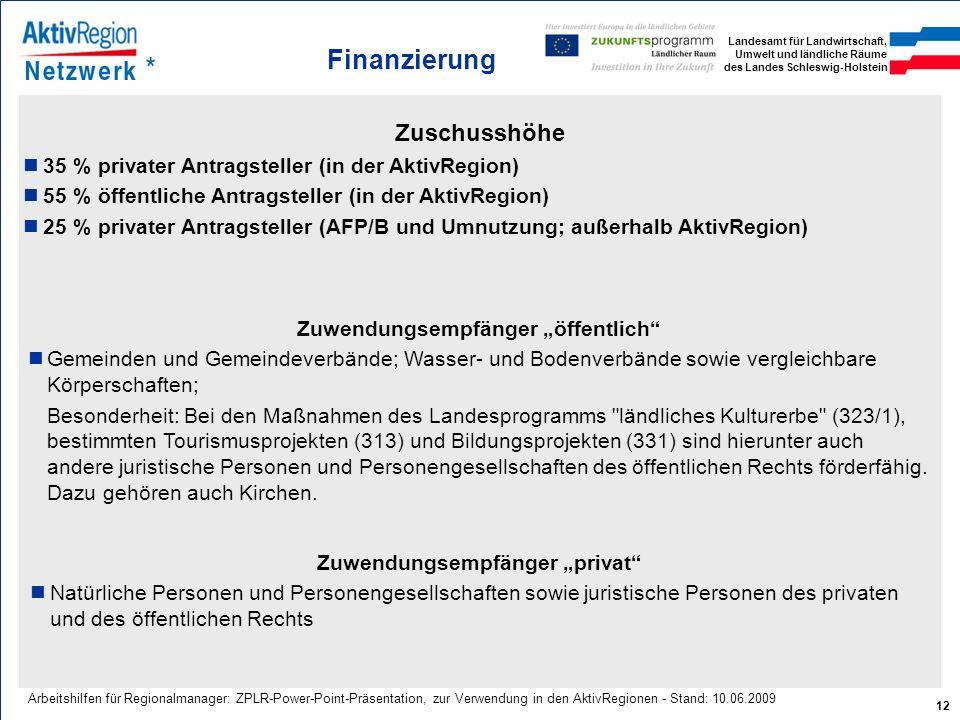 Landesamt für Landwirtschaft, Umwelt und ländliche Räume des Landes Schleswig-Holstein 12 Arbeitshilfen für Regionalmanager: ZPLR-Power-Point-Präsenta