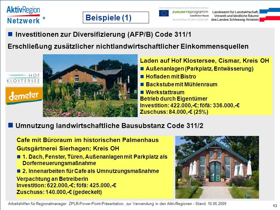 Landesamt für Landwirtschaft, Umwelt und ländliche Räume des Landes Schleswig-Holstein 13 Arbeitshilfen für Regionalmanager: ZPLR-Power-Point-Präsenta