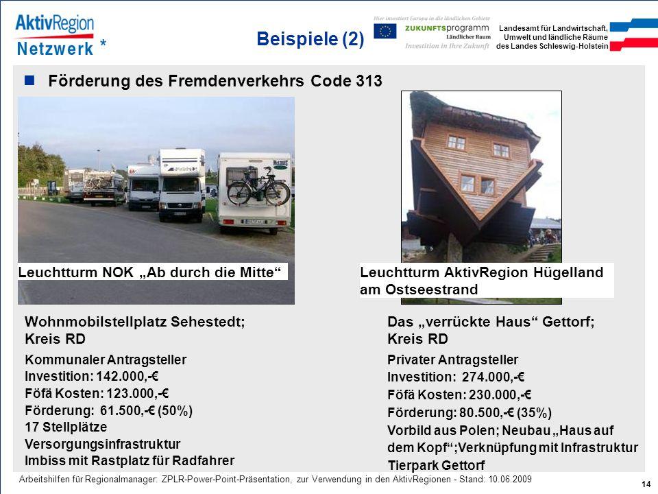 Landesamt für Landwirtschaft, Umwelt und ländliche Räume des Landes Schleswig-Holstein 14 Arbeitshilfen für Regionalmanager: ZPLR-Power-Point-Präsenta
