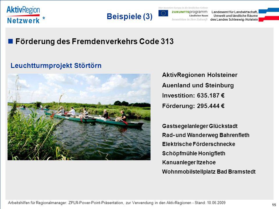 Landesamt für Landwirtschaft, Umwelt und ländliche Räume des Landes Schleswig-Holstein 15 Arbeitshilfen für Regionalmanager: ZPLR-Power-Point-Präsenta