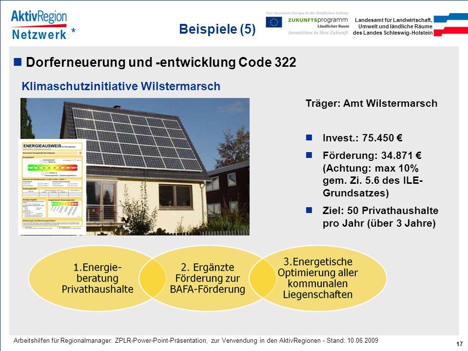 Landesamt für Landwirtschaft, Umwelt und ländliche Räume des Landes Schleswig-Holstein 17 Arbeitshilfen für Regionalmanager: ZPLR-Power-Point-Präsenta