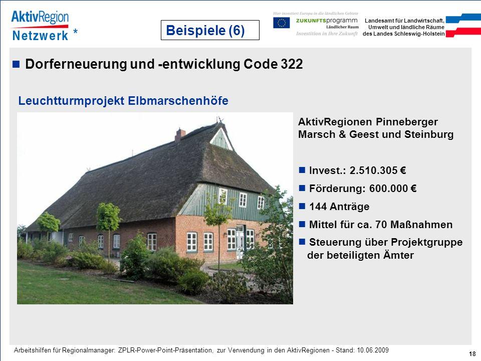 Landesamt für Landwirtschaft, Umwelt und ländliche Räume des Landes Schleswig-Holstein 18 Arbeitshilfen für Regionalmanager: ZPLR-Power-Point-Präsenta
