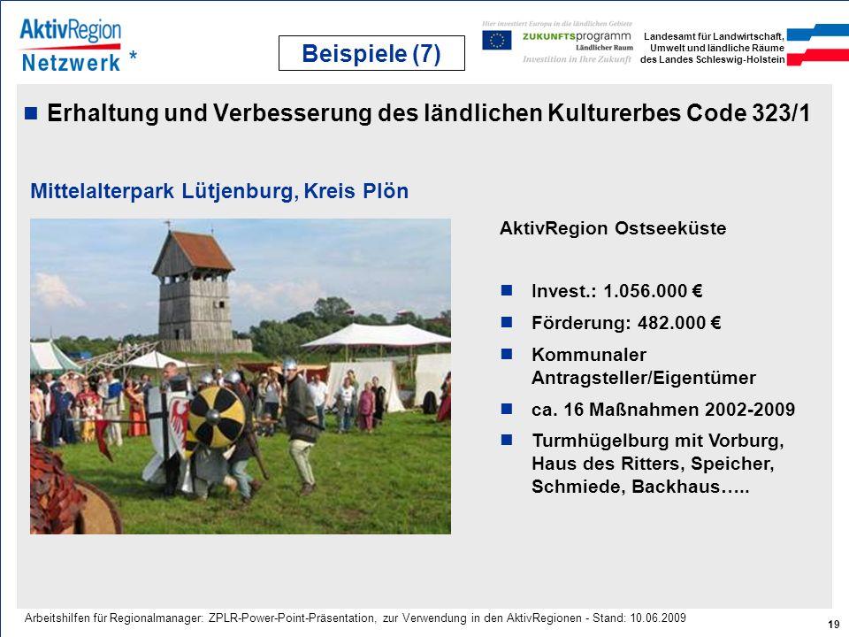 Landesamt für Landwirtschaft, Umwelt und ländliche Räume des Landes Schleswig-Holstein 19 Arbeitshilfen für Regionalmanager: ZPLR-Power-Point-Präsenta