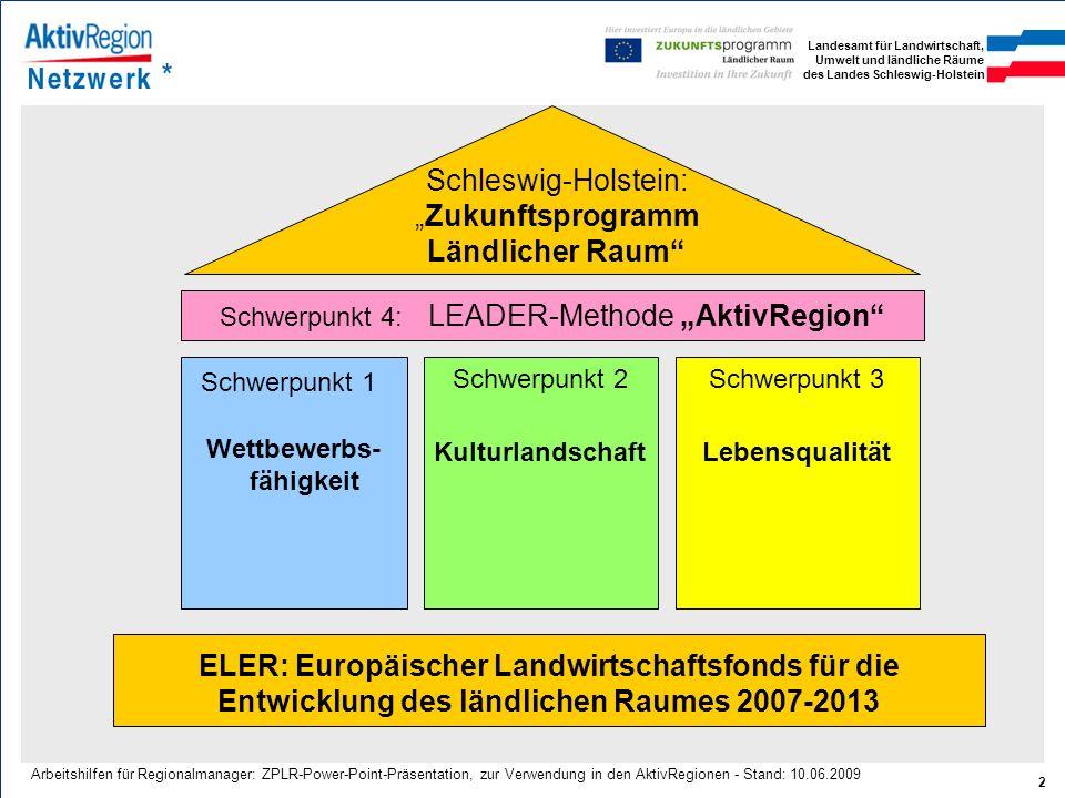 Landesamt für Landwirtschaft, Umwelt und ländliche Räume des Landes Schleswig-Holstein 2 Arbeitshilfen für Regionalmanager: ZPLR-Power-Point-Präsentat