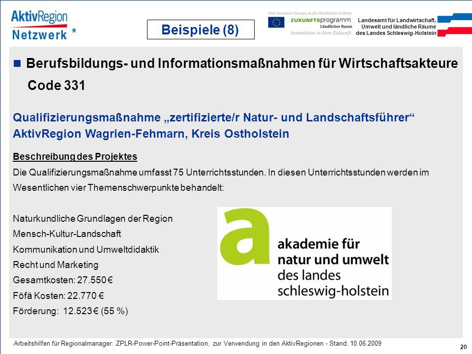 Landesamt für Landwirtschaft, Umwelt und ländliche Räume des Landes Schleswig-Holstein 20 Arbeitshilfen für Regionalmanager: ZPLR-Power-Point-Präsenta