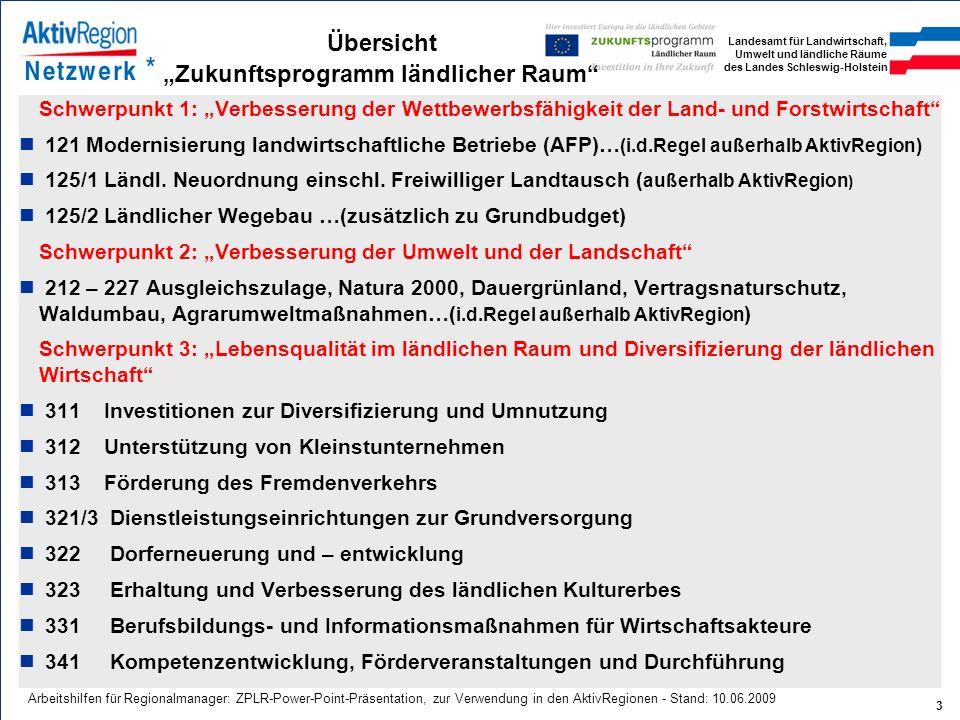 Landesamt für Landwirtschaft, Umwelt und ländliche Räume des Landes Schleswig-Holstein 3 Arbeitshilfen für Regionalmanager: ZPLR-Power-Point-Präsentat