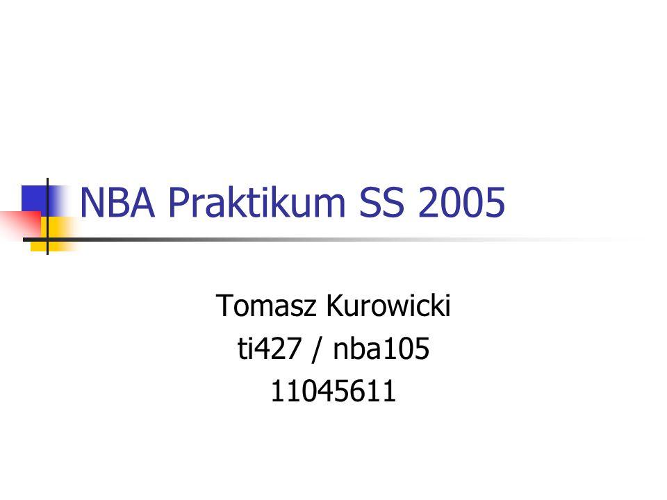 NBA Praktikum SS 2005 Tomasz Kurowicki ti427 / nba105 11045611