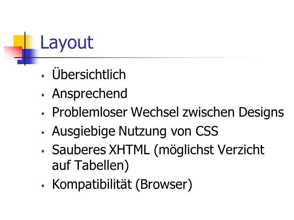 Layout Übersichtlich Ansprechend Problemloser Wechsel zwischen Designs Ausgiebige Nutzung von CSS Sauberes XHTML (möglichst Verzicht auf Tabellen) Kompatibilität (Browser)