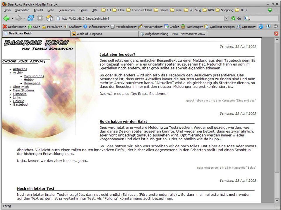 Archiv Kategorieauswahl Immer 10 Einträge pro Seite
