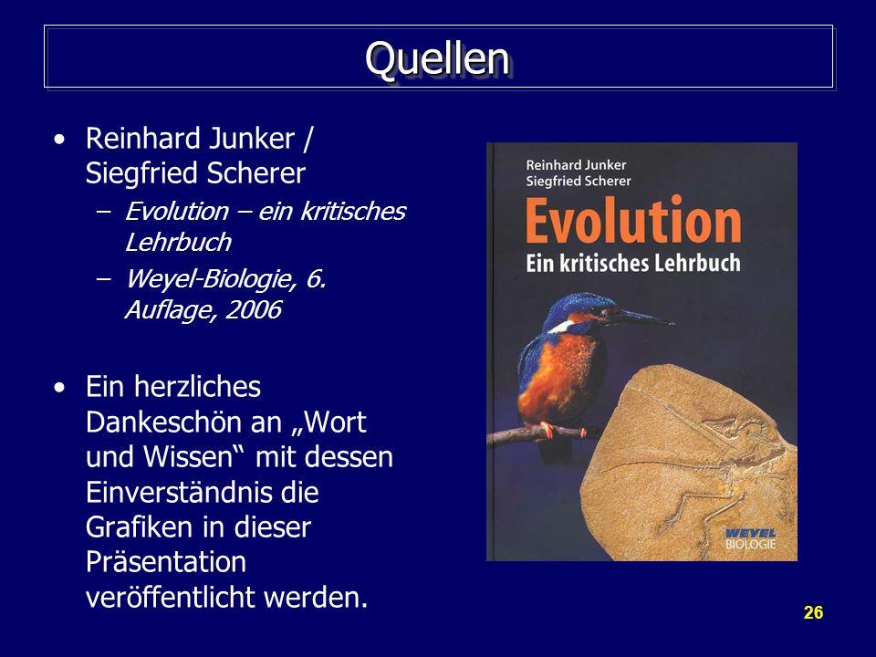 26 QuellenQuellen Reinhard Junker / Siegfried Scherer –Evolution – ein kritisches Lehrbuch –Weyel-Biologie, 6. Auflage, 2006 Ein herzliches Dankeschön
