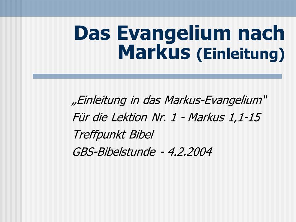 Seite 2 Der Schreiber des Evangeliums Die altkirchliche Tradition bezeugt: Johannes Markus ist der Autor.