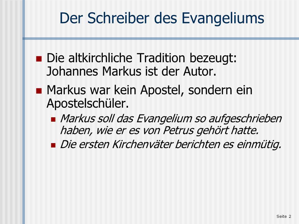 Seite 3 Papias über das Markus-Evangelium (1) Ein Zitat von Papias, dem Bischof von Hierapolis:[1][1] Auch dies lehrte der Presbyter [Johannes]: Markus hat die Worte und Taten des Herrn, an die er sich als Hermeneut[2] des Petrus erinnerte, genau, allerdings nicht der Reihe nach, aufgeschrieben.[2] Denn er hatte den Herrn nicht gehört und begleitet; wohl aber folgte er später, wie gesagt, dem Petrus, welcher seine Lehrvorträge nach den Bedürfnissen einrichtete, aber nicht so, daß er eine zusammenhängende Darstellung der Reden des Herrn gegeben hätte.