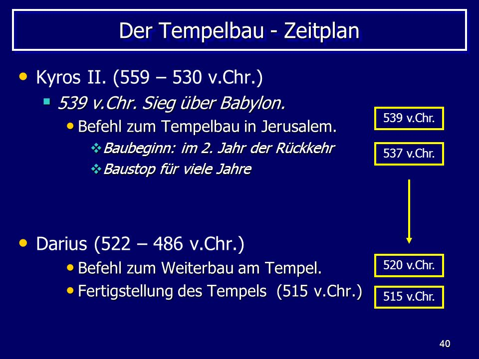 40 Der Tempelbau - Zeitplan Kyros II. (559 – 530 v.Chr.) 539 v.Chr. Sieg über Babylon. 539 v.Chr. Sieg über Babylon. Befehl zum Tempelbau in Jerusalem