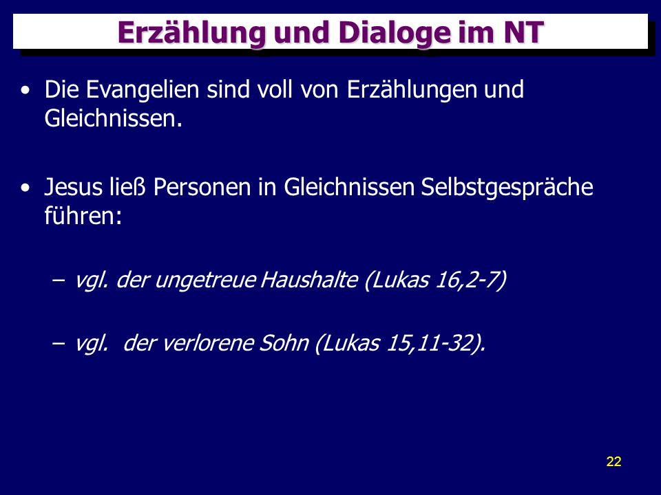 22 Erzählung und Dialoge im NT Die Evangelien sind voll von Erzählungen und Gleichnissen. Jesus ließ Personen in Gleichnissen Selbstgespräche führen: