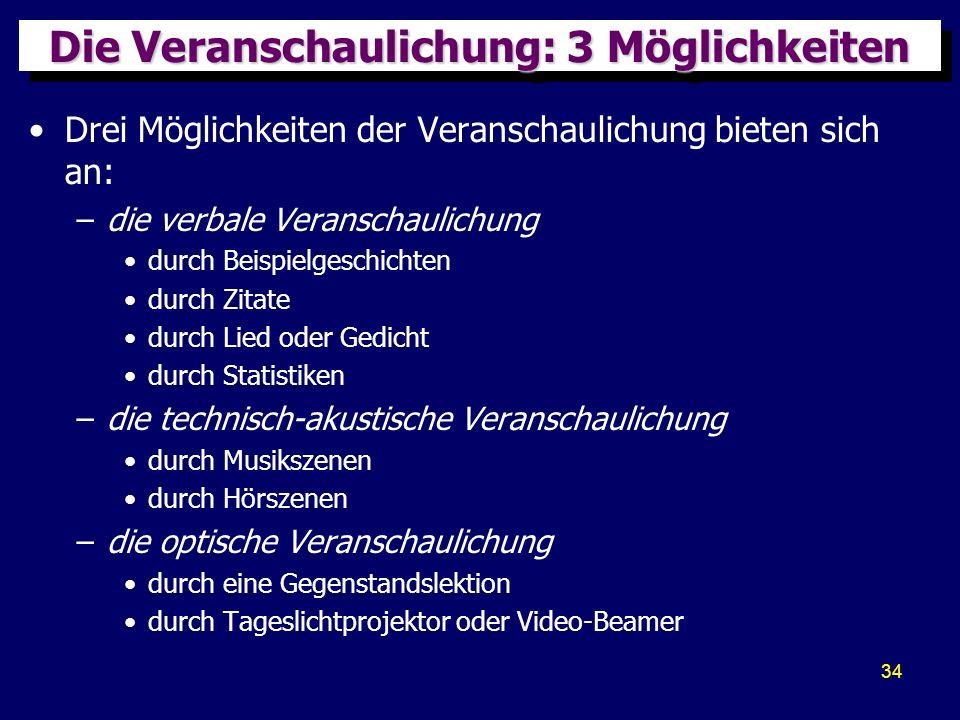 34 Die Veranschaulichung: 3 Möglichkeiten Drei Möglichkeiten der Veranschaulichung bieten sich an: –die verbale Veranschaulichung durch Beispielgeschi