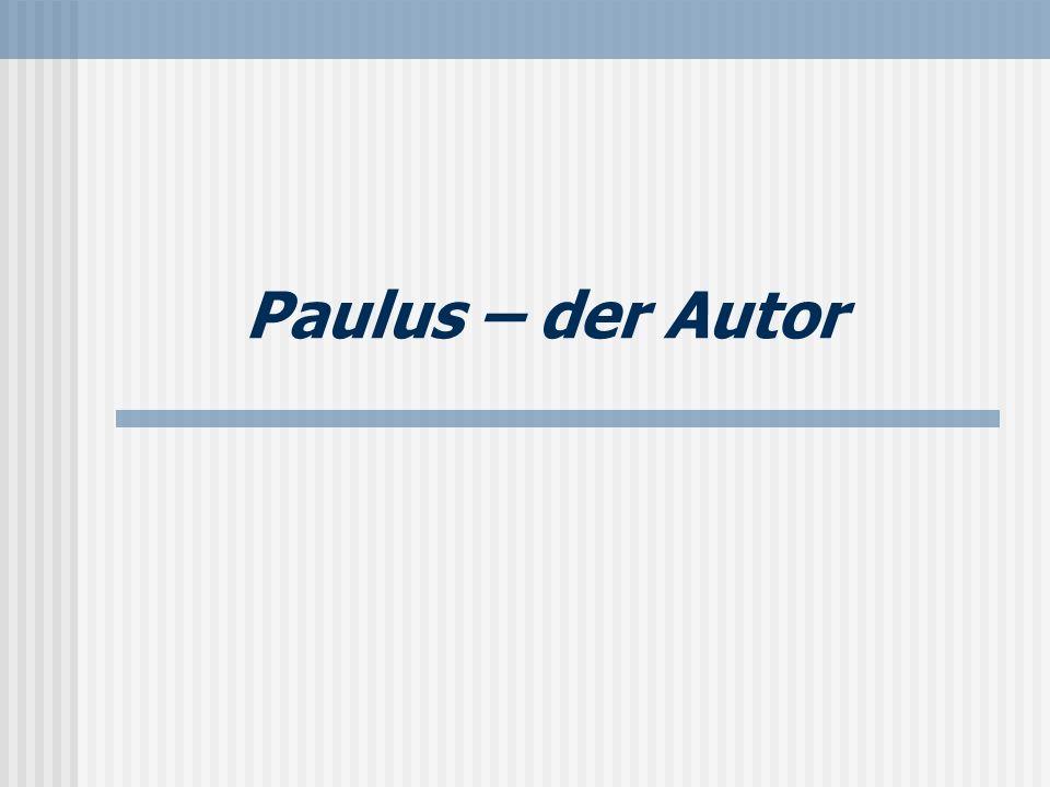 Seite 9 Autor Paulus: ein Knecht Jesu Christi (1,1) berufen zum Apostel (1,1) ausgesondert zur Evangelisation unter allen Menschen (1,1+5) Paulus ist der alleinige Autor (1,1).