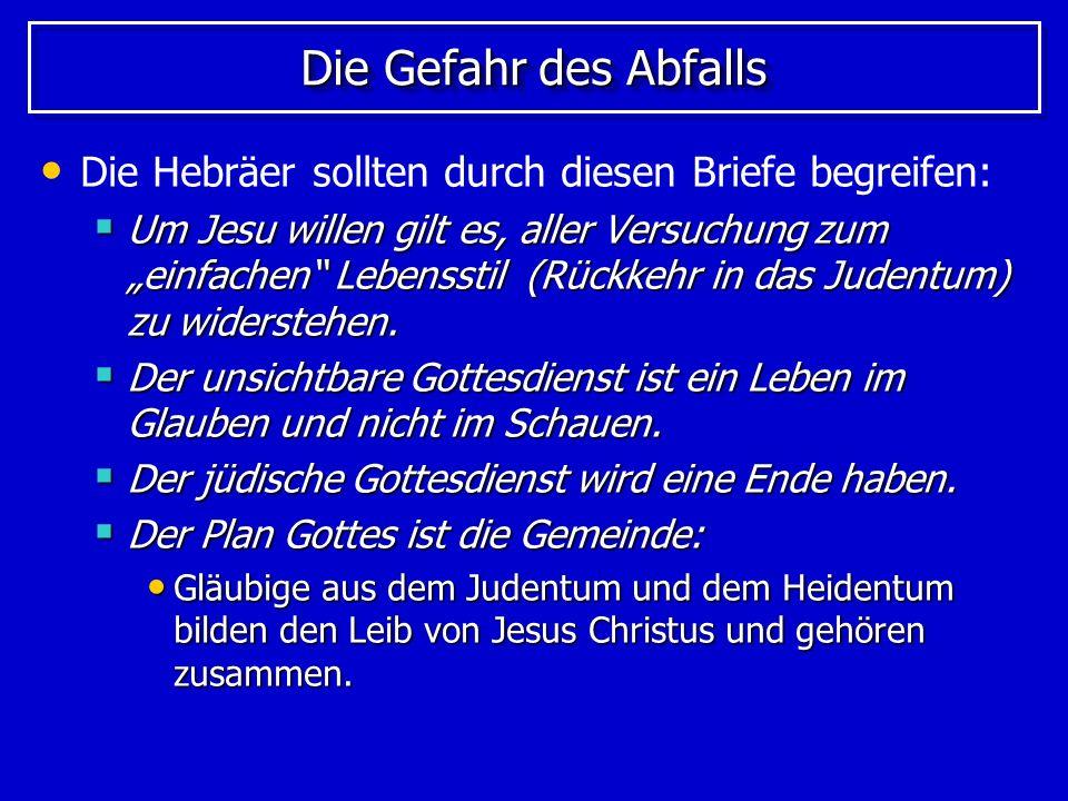 Was uns in Jesus geschenkt ist Der Glaube an Jesus Christus schenkt: Eine bessere Hoffnung (7,19) Eine bessere Hoffnung (7,19) Einen besseren Bund (7,22; 8,6) Einen besseren Bund (7,22; 8,6) Eine bessere Verheißung (8,6) Eine bessere Verheißung (8,6) Ein besseres Schlachtopfer (9,23) Ein besseres Schlachtopfer (9,23) Einen besseren Besitz (10,34) Einen besseren Besitz (10,34) Ein besseres Vaterland (11,16) Ein besseres Vaterland (11,16) Eine bessere Auferstehung (11,35) Eine bessere Auferstehung (11,35)