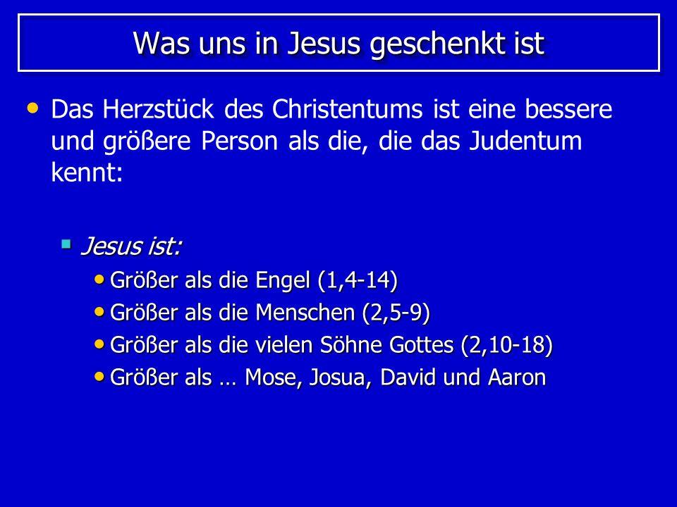 Jesus ist größter als … Jesus ist größer als … Jesus ist größer als … Mose (3,1-6) Mose (3,1-6) Der größte Prophet Israels Der größte Prophet Israels Josua (3,18-4,8) Josua (3,18-4,8) Der größte Heerführer Israels Der größte Heerführer Israels David (4,1-9) David (4,1-9) Der größte König Israels Der größte König Israels Aaron (4,14-7,28) Aaron (4,14-7,28) Der größte Hohepriester Israels Der größte Hohepriester Israels