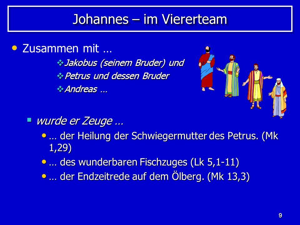 10 Johannes – im Dreierteam Zusammen mit … Jakobus Jakobus Petrus … Petrus … wurde er Zeuge … wurde er Zeuge … … der Totenauferweckung der Tochter des Jairus.