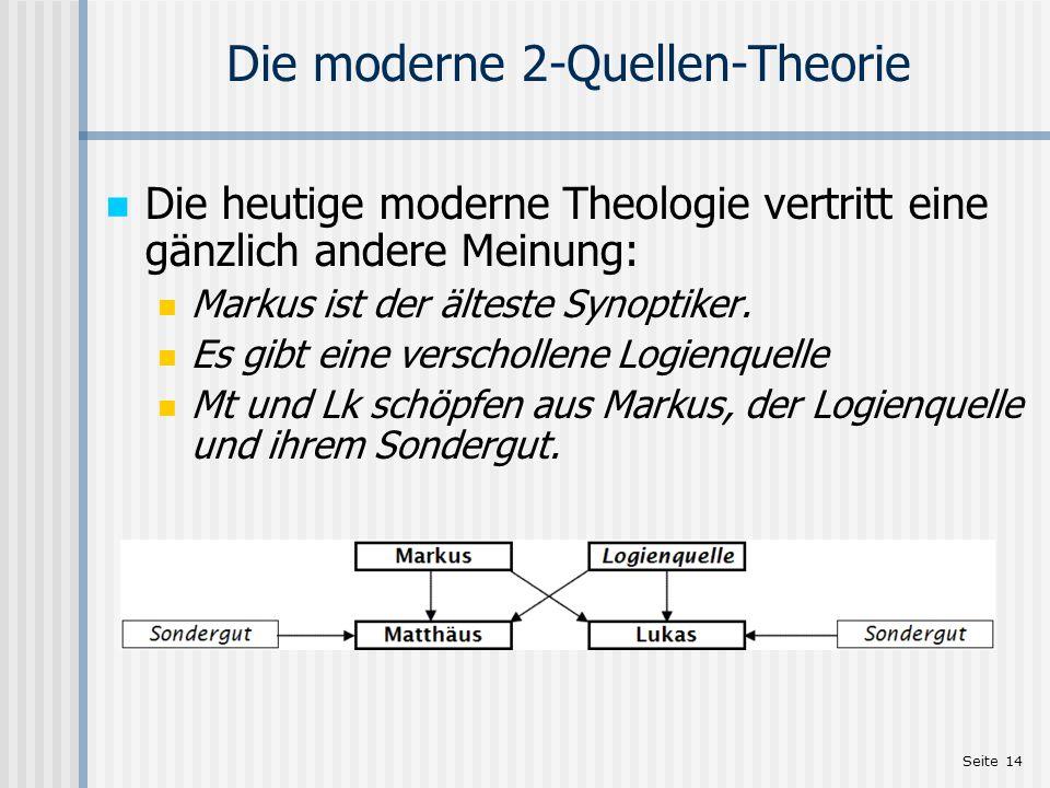Seite 14 Die moderne 2-Quellen-Theorie Die heutige moderne Theologie vertritt eine gänzlich andere Meinung: Markus ist der älteste Synoptiker. Es gibt