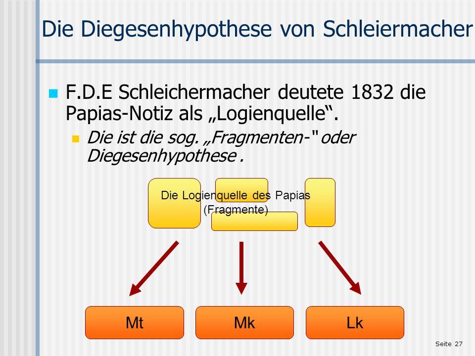Seite 27 Die Diegesenhypothese von Schleiermacher F.D.E Schleichermacher deutete 1832 die Papias-Notiz als Logienquelle. Die ist die sog. Fragmenten-