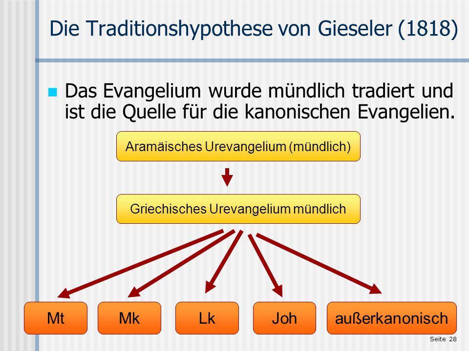 Seite 28 Die Traditionshypothese von Gieseler (1818) Das Evangelium wurde mündlich tradiert und ist die Quelle für die kanonischen Evangelien. Mt Aram