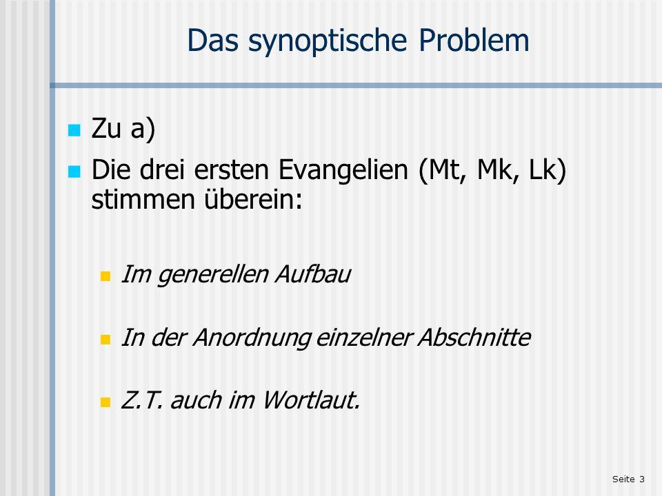 Seite 3 Das synoptische Problem Zu a) Die drei ersten Evangelien (Mt, Mk, Lk) stimmen überein: Im generellen Aufbau In der Anordnung einzelner Abschni