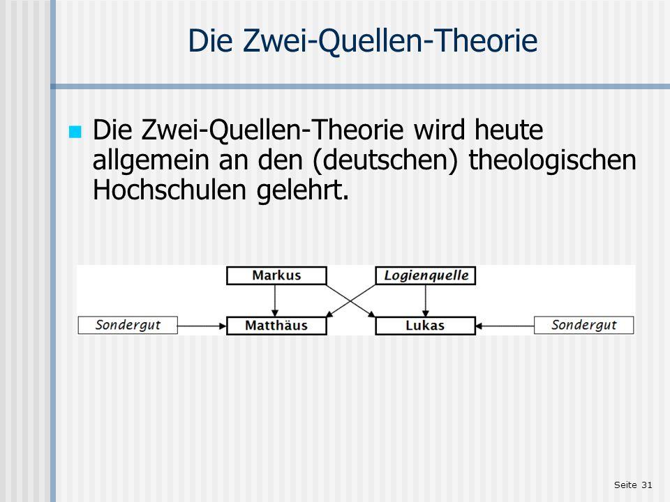 Seite 31 Die Zwei-Quellen-Theorie Die Zwei-Quellen-Theorie wird heute allgemein an den (deutschen) theologischen Hochschulen gelehrt.