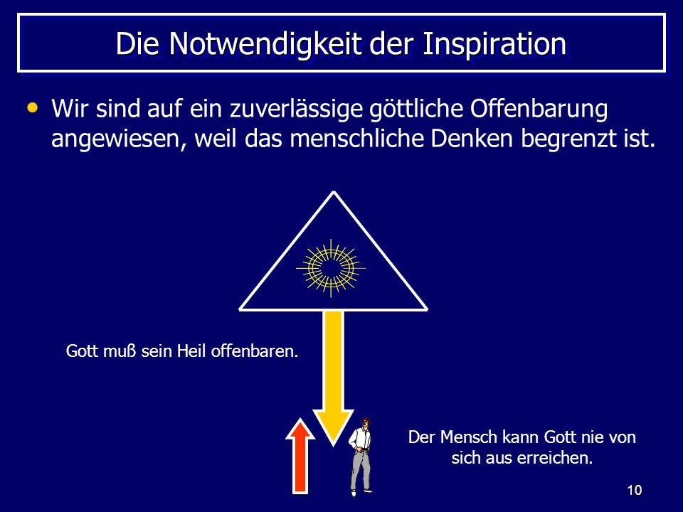 10 Die Notwendigkeit der Inspiration Wir sind auf ein zuverlässige göttliche Offenbarung angewiesen, weil das menschliche Denken begrenzt ist.