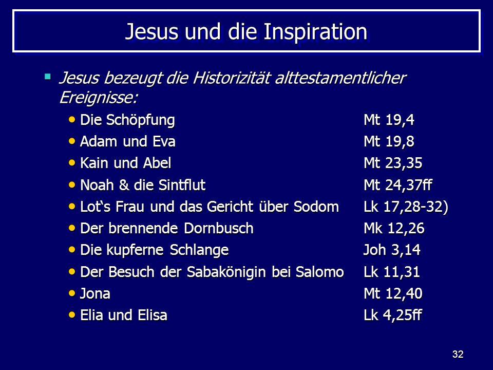 32 Jesus und die Inspiration Jesus bezeugt die Historizität alttestamentlicher Ereignisse: Jesus bezeugt die Historizität alttestamentlicher Ereignisse: Die Schöpfung Mt 19,4 Die Schöpfung Mt 19,4 Adam und EvaMt 19,8 Adam und EvaMt 19,8 Kain und AbelMt 23,35 Kain und AbelMt 23,35 Noah & die SintflutMt 24,37ff Noah & die SintflutMt 24,37ff Lots Frau und das Gericht über SodomLk 17,28-32) Lots Frau und das Gericht über SodomLk 17,28-32) Der brennende DornbuschMk 12,26 Der brennende DornbuschMk 12,26 Die kupferne SchlangeJoh 3,14 Die kupferne SchlangeJoh 3,14 Der Besuch der Sabakönigin bei SalomoLk 11,31 Der Besuch der Sabakönigin bei SalomoLk 11,31 JonaMt 12,40 JonaMt 12,40 Elia und ElisaLk 4,25ff Elia und ElisaLk 4,25ff
