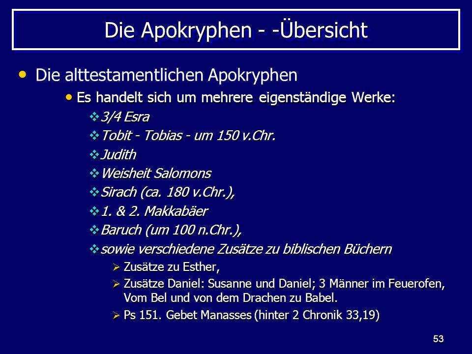 53 Die Apokryphen - -Übersicht Die alttestamentlichen Apokryphen Es handelt sich um mehrere eigenständige Werke: Es handelt sich um mehrere eigenständige Werke: 3/4 Esra 3/4 Esra Tobit - Tobias - um 150 v.Chr.