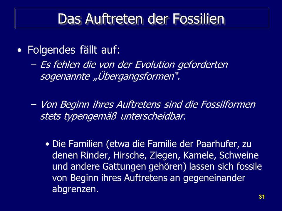 31 Das Auftreten der Fossilien Folgendes fällt auf: –Es fehlen die von der Evolution geforderten sogenannte Übergangsformen. –Von Beginn ihres Auftret